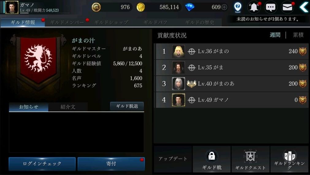 ダークアベンジャークロス-ギルド画面